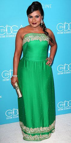 Last Night's Look: Love It or Leave It? | MINDY KALING  | in a custom Salvador Perez dress (again!) and earrings by Highglow Jewelers, at the 17th Costume Designers Guild Awards in Beverly Hills