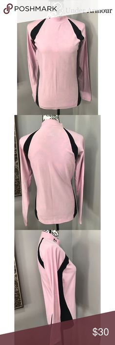 Under armour women top Under armour women workout top. Size large. No rips or stains. In good condition. Its long sleeves. Great for working out. Color is pink and back. Under Armour Tops
