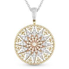Round Cut Diamond Sun Charm Pendant in 14k Yellow, White, & Rose Gold w/ 14k White Chain - AM-DN4605 - AlfredAndVincent.com