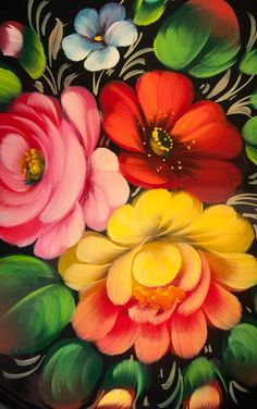 Zhostovo handicraft from Russia. Floral pattern.