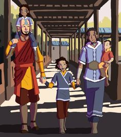 So anyway I've been having Avatar feels since Korra ended… So here's Aang and Katara and their babies. Avatar Aang, Avatar Legend Of Aang, Avatar The Last Airbender Funny, The Last Avatar, Team Avatar, Avatar Airbender, Legend Of Korra, Avatar Cartoon, Avatar Funny