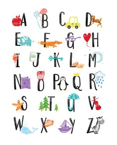 Art Print: Watercolor Alphabet by Elena David : Alphabet Nursery, Alphabet Wall Art, Alphabet Print, Alphabet For Kids, Animal Nursery, Kids Room Wall Art, Nursery Wall Art, Nursery Decor, Room Decor