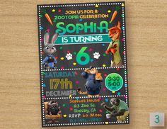 Zootopia Invitation, Zootopia Birthday Invites, Zootopia Chalkboard Birthday Invitation, Disney Zootopia Digital Custom Card by DinoParty on Etsy https://www.etsy.com/listing/477523266/zootopia-invitation-zootopia-birthday