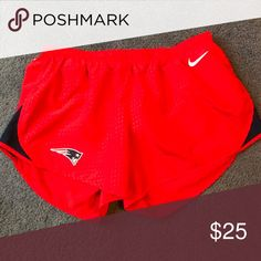 Nike New England Patriots Running Shorts Red Nike running shorts with New England Patriots logo on right leg. Nike Shorts