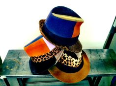 Fedoras made from scraps, remnants, old and vintage hats! By Lola Hats.