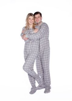 451777485b Big Feet PJs Gray   White Plaid Cotton Flannel Adult Footed Pajamas Sleeper