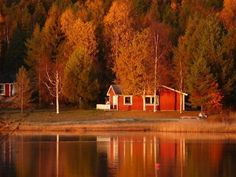 Little red cabin at the lake...ours has green trim, i like the green trim better