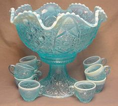Beautiful Carnival Glass Punch Bowl with base and cups