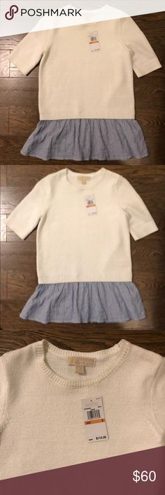 Michael Kors short sleeve sweater/blouse. Size S. Short sleeve sweater top • Blouse bottom hem. Michael Kors Size S. NWT. Michael Kors Tops
