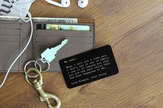 Metal Wallet Card, Custom Personalized Wallet Insert, Engraved Wallet Card, Groom Gift, Anniversary Gift, Gift for Him --WC-B-MyOwen