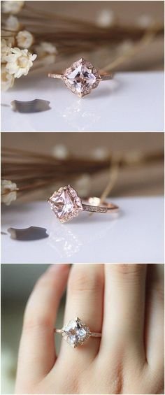 7mm Princess Vintage Floral Morganite Engagement Ring Solid 14K Rose gold Wedding Ring / http://www.deerpearlflowers.com/engagement-rings-from-etsy/