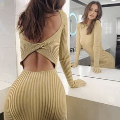 WannaThis Sexy Knee Length Women Party Dress Ribbed Knitted Solid Hollow Out Hole Backless Long Sleeve Autumn Slim Elegant Dress-in Dresses from Women's Clothing on AliExpress Tight Dresses, Club Dresses, Cheap Dresses, Sexy Dresses, Ribbed Dress, Knit Dress, Backless Long Dress, Dress Long, Pernas Sexy