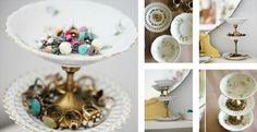 idée comment fabriquer un porte bijoux, petites coupelles réunis par des pièces de chandelier, idée de range bague et boucles d oreilles