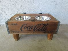 Vintage Coca Cola crate dog or cat feeder by VintageCrateFeeders