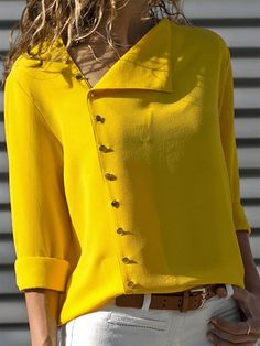 Summer 2018 Fashion Button Long Sleeve Yellow White Shirt Womens Tops And Blouses Female Tunic Office Chemise For Feminina FemmeLong Sleeve Shift Buttoned Casual Solid Blouses – Miss ArtyDamen Langarm-Button-Down-lose beiläufige grundlegende Bluse Hippie Hose, Mode Hippie, Fall Shirts, Chiffon Shirt, Chiffon Blouses, Mode Inspiration, Blouses For Women, Ladies Blouses, Ladies Shirts