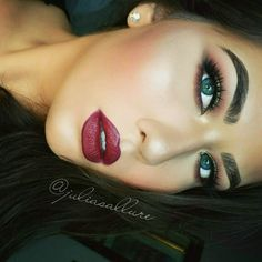 """something a little more fall appropriate. lips: jordana lip liner in """"cabernet"""" with @maccosmetics lipstick in """"diva""""  . brows: @whiteninglightning brow bar to go ) . lashes: @houseoflashes """"iconic"""" . shadows: i used all @coastalscents hot pots. brow bone: """"chamois nude"""". crease: """"oktoberfest"""", """"paprika"""" , """"maroon berry"""". lid: """"dark goldenrod"""" . foundation: @maybelline super stay . concealer: @lagirlcosmetics hd . blush: @illamasqua """"lover"""" . highlight: @esteelauder """"heatwave"""""""