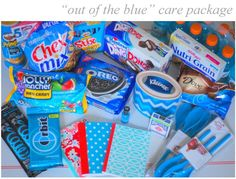 out of the blue care package. Color the inside of the entire box blue. Creative Gifts, Cool Gifts, Best Gifts, Missionary Care Packages, Missionary Gifts, Just In Case, Just For You, Box Of Sunshine, Themed Gift Baskets