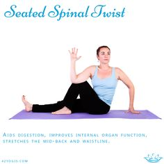 From a seated position with legs extended, draw right knee into towards body and wrap left arm around bent leg, looking over right shoulder. Hold for five deep breaths, repeat on other side sitting up very straight and tall. Use your arm in back as leverage on the floor to twist deeper on each exhale. After 5 - 10 breaths, switch sides and repeat.