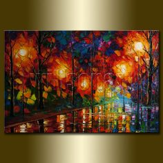 Original Textured Palette Knife Landscape Painting Oil on Canvas Contemporary Modern Art Rainy Night 24X36 by Willson Lau on Etsy, $325.00