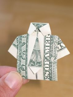 Paper Money Origami with American Dollar Bills; Shirt & Tie | The Country Basket  Includes video tutorial!