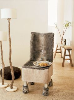 ⋙ Inspiration;home design, fur chair, #DreamDigs #WinterFauna