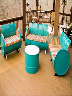 Add some green furniture to your life. We recycle and repurpose used steel drums into striking designs. You'll love the fact that we use what industry has a...