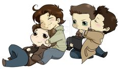 Sabriel + Destiel Supernatural chibi commission by DeanGrayson.deviantart.com on @deviantART