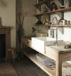 Awesome Modern Farmhouse Bathroom Decor Ideas Cabinets Design - Küche - Home Modern Farmhouse Bathroom, Rustic Kitchen, New Kitchen, Farmhouse Ideas, Kitchen Sink, Kitchen Island, Kitchen Ideas, Open Cabinet Kitchen, Old Farmhouse Kitchen