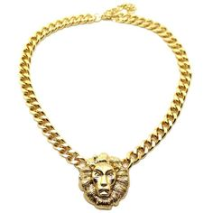 "New Rihanna Shiny Gold Lion Head Pendant w/10mm 16"" Link Chain... ($15) ❤ liked on Polyvore featuring jewelry, necklaces, accessories, chain, chain necklaces, gold chain pendant, chain link necklaces, gold jewellery and gold pendant"