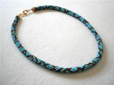 Free pattern for beaded crochet rope Blue Snake | Beads Magic