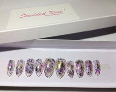 Confetti  Custom Designer Press On Nails  Any Shape and Size   Fake False Glue On Nails