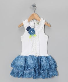 Take a look at this White & Blue Floral Ruffle Dream Dress - Infant, Toddler & Girls by Sophie Catalou on #zulily today!