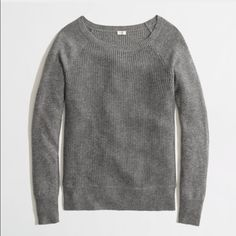 J. Crew warmspun waffle sweater J. Crew factory warmspun waffle crewneck sweater in gray. Worn and hand washed once. Smoke free home! J. Crew Sweaters Crew & Scoop Necks