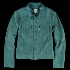 Levi's Vintage Clothing - 1960s Suede Trucker Jacket in Turquoise Suede