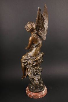Bronze Vintage Sculpture on Marble Base Bronze Statue Lovely nude Girl with long hair Foundry Mark, Act of a Woman Gift Idea