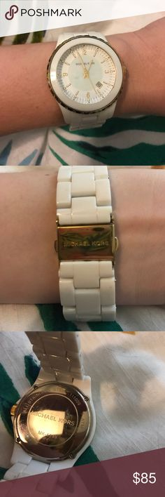 Authentic Michael Kors watch! Beautiful white and gold MK watch, with pearly white face. Perfect for summer! Its used but still has plenty of life, there are a few scratches on the face and band but it's very hard to tell on the white. There is also a mark on the inside of the band as seen in picture, but of course you can't see this when the watch is on Michael Kors Jewelry