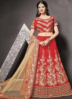 Red Beige Embroidery Work Sammer Silk Net Designer Wedding Lehenga Choli http://www.angelnx.com/Lehenga-Choli/Wedding-Lehenga-Choli