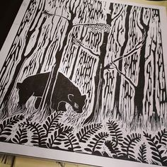 More old portfolio work. I miss printing #linoprint #printing #bear #illustration #nature #ink #leaves #woods #blackandwhite