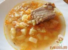 Суп из красной чечевицы с соленым огурцом