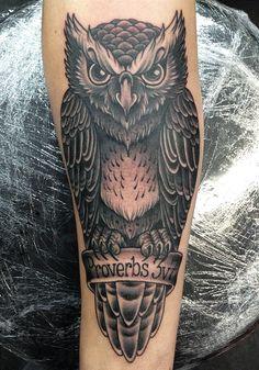 Proverbs Owl Arm Tattoo