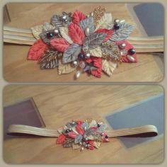 cinturon hojas de terciopelo coral, plata y dorado