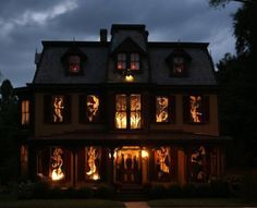25 Ideas To Decorate Windows With Silhouettes On Halloween - All Hallows Eve, Trick or Treat, Black Cat, Bat, Cauldron, Cobwebs, Candle, Goblin, Ghost, Ghouls, Grim Reaper, Grave Keeper, Raven, Skull, Spiders, Scarecrow, Skeleton, Vampire, Witch, Jack-O-Lantern, Pumpkin, Spooky, Spells, Scary, Haunted, Haunting, Creepy, Frightening, Full Moon, Autumn, Fall, Magic Potion