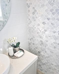 Those tiles have deemed me close to death (in a good way!) Totally heart-stopping stuff here from metriconhomes once again. Can I live in this bathroom I dont even need the entire display home. The bathroom is enough. Bathroom Styling, Bathroom Interior Design, Interior Design Living Room, Bathroom Renos, Small Bathroom, Bathroom Ideas, Bathroom Inspo, White Bathroom, Bathroom Designs