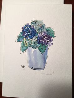 Blue Hydrangea Flowers in Vase / Hand Painted Watercolor Card  This card is painted on heavy 140* card stock. I have used ink and watercolor on this original card. The card is 5x7 and blank inside. This card would be lovely framed. Comes with a matching envelope in a protective sleeve.