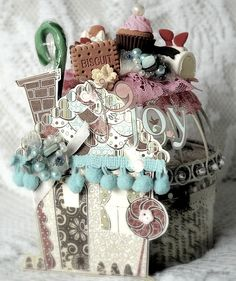 Joyful Candy house...using recycled Prima flower tin and a lil metal basket as the top ;)