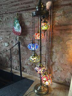 HANDMADE TURKISH MOSAIC FLOOR LAMP, 7 LAMPS Turkish Lanterns, Turkish Lamps, Mosaic Art, Mosaic Glass, Turkish Coffee Set, Moroccan Lighting, Mosaic Pieces, Wind Chimes, Floor Lamp