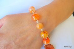 Stacking gemstone bracelet orange fire agate link by pzmdesigns