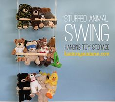DIY hanging toy storage to organize the stuffed animals is part of Kids room organization - DIY hanging toy storage to organize the stuffed animals NurseryOrganization StuffedAnimals Stuffed Animal Storage, Diy Stuffed Animals, Stuffed Toys, Stuffed Animal Hammock, Storing Stuffed Animals, Creative Toy Storage, Diy Storage, Cuddly Toy Storage Ideas, Storage For Toys