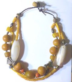 Necklace, Moroccan inspired, with antique african beads, Ethiopian silver-metal beads