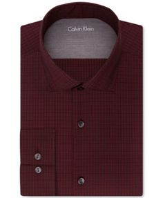 Pair this deep red extra-slim fit Calvin Klein X dress shirt with a slim, solid tie in a bold tone to showcase your fashion forward, modern style. | Cotton/nylon/spandex | Machine washable | Imported